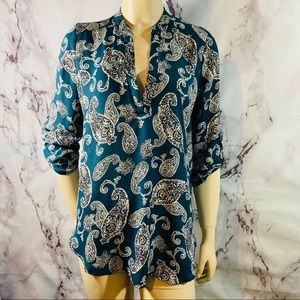 Lush paisley v neck 3/4 sleeve blouse shirt sz M